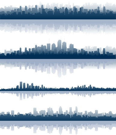 blue city skylines Stock Vector - 8634158