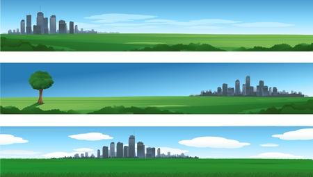 自然都市パノラマ  イラスト・ベクター素材