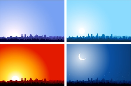 Cityscape at different time of the day Vector
