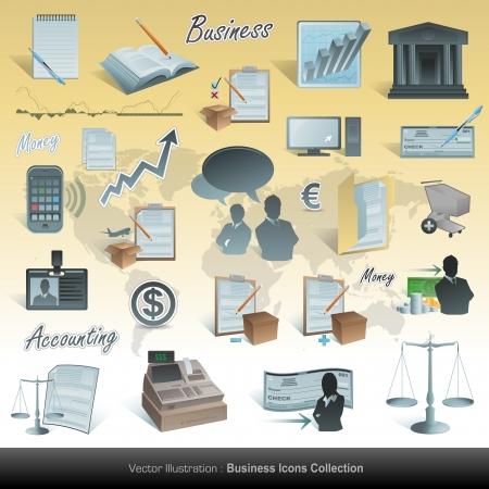 bank manager: Conjunto de iconos de contabilidad de vector empresarial