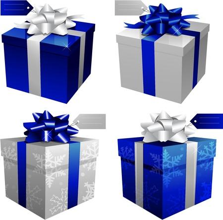 cadeaupapier: blauwe geschenkdozen Stock Illustratie