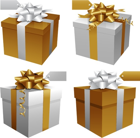 christmas gift: Gold gift box