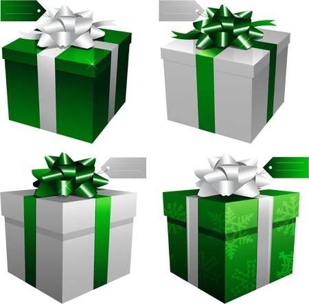 open present: Green gift boxes