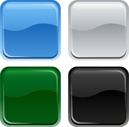 blue button: square glossy internet buttons Illustration