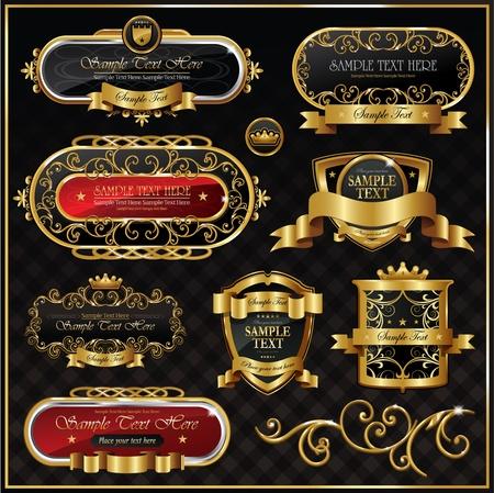 set: black gold framed labels  Vector