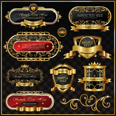 luxurious: set: black gold framed labels