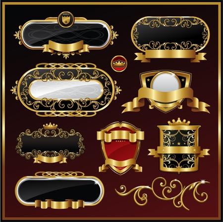 label frame: vector set: black gold-framed labels