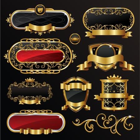 corona navidad: Etiqueta de fotograma de la �poca de oro negro  Vectores