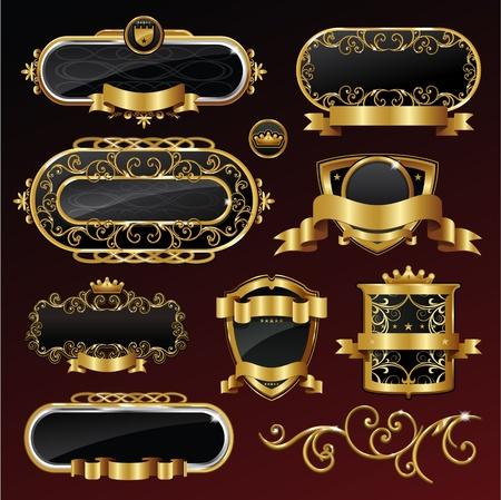 Vintage vector black gold frame label