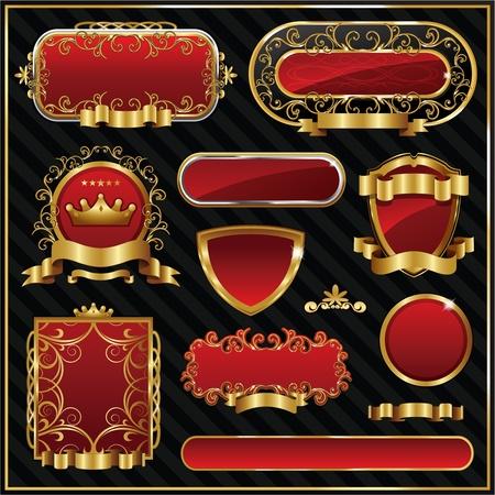 gold star: Retro gold frames on black background. Premium design elements.