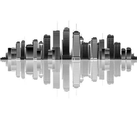 batiment industriel: Ville silhouette r�flexion Illustration