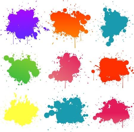 カラフルな塗装スプラット  イラスト・ベクター素材