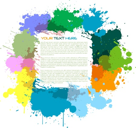 Kleur verf spatten vierkante achtergrond.  Stock Illustratie