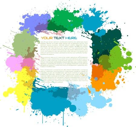 Color paint splashes square background.