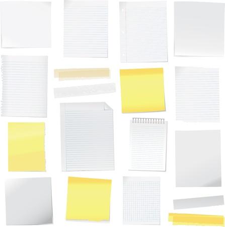 Ilustración de notas de papel