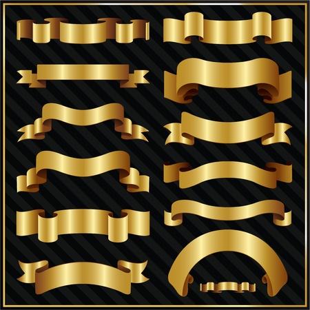golden vintage ribbons Vector