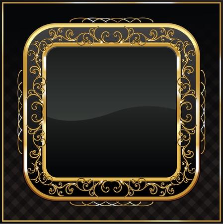 label frame: vintage golden frame