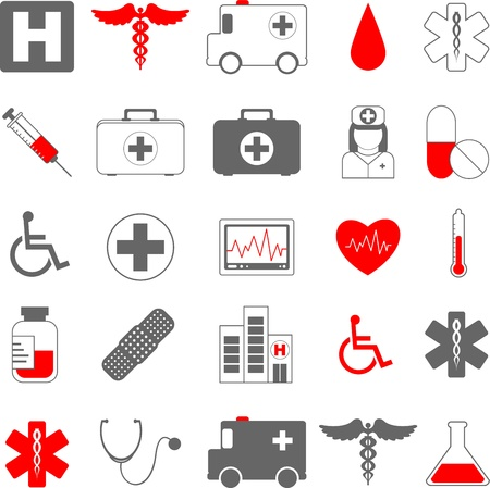 pc icon: medical healthcare icons set