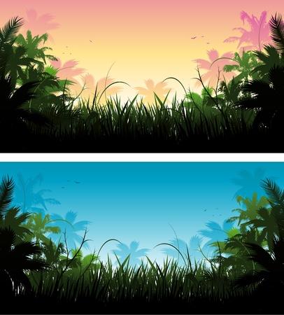 ジャングルを背景  イラスト・ベクター素材