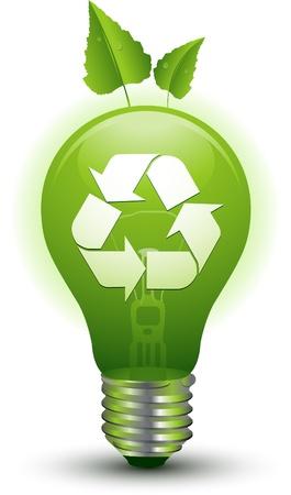 conservacion del agua: bombilla de luz verde recylcing Vectores