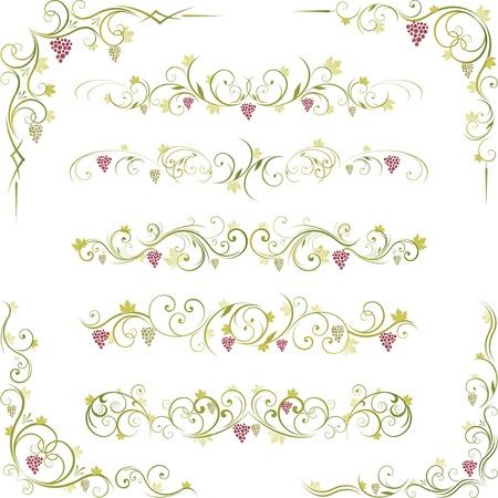 decoratieve wijn druif design Stock Illustratie