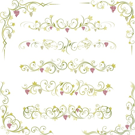 decorative wine grape design Vector