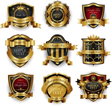 coat of arms shield: decorative ornate golden frame