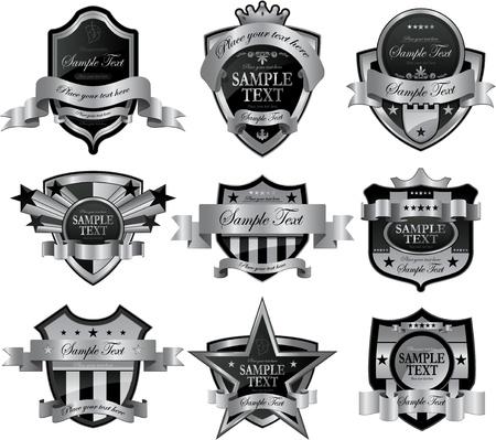 escudo de armas: marco decorativo de plata Vectores