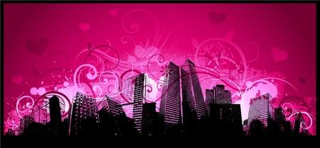 love city achtergrond Stock Illustratie