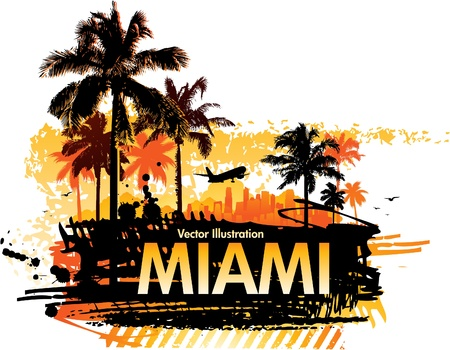 miami: summer palm trees Illustration