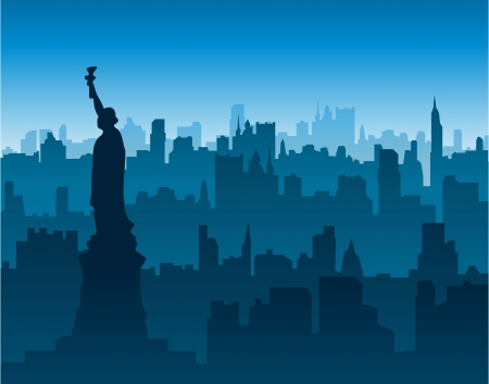 new york skyline: statue of liberty new york city Illustration
