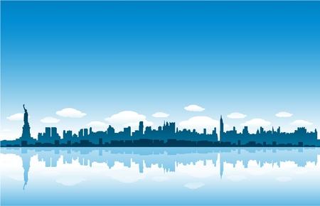 reflexion: horizonte de la ciudad de Nueva york Vectores