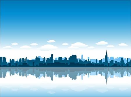 new york city skyline reflect on water 일러스트