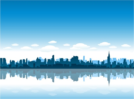 new york city skyline reflect on water Illustration