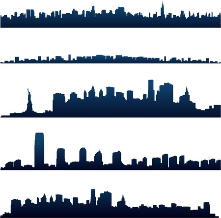 new york skyline: New york city silhouettes Illustration