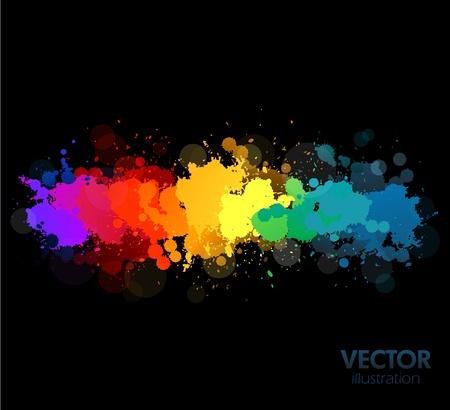 paleta de pintor: salpicaduras de pintura de colorido arco iris