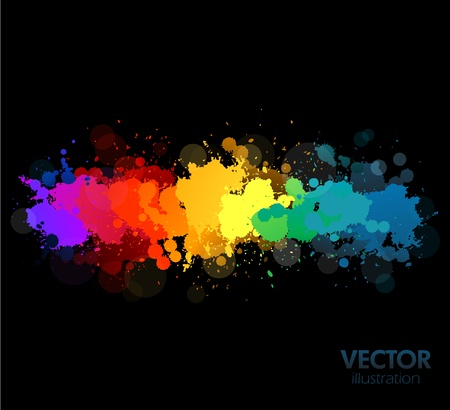 splash color: spruzzi di vernice colorata arcobaleno Vettoriali