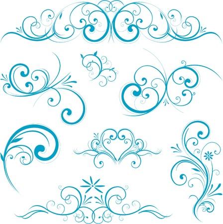 スワール: 青い渦巻デザイン装飾品  イラスト・ベクター素材