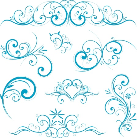 esquineros de flores: adornos de dise�o de remolino azul Vectores