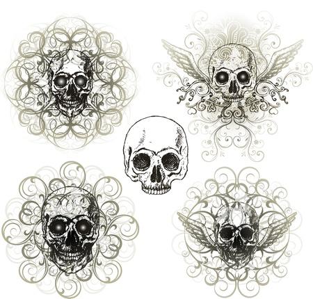 grunge: skull design t-shirt