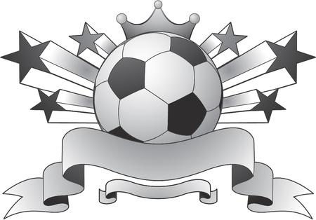 balon soccer: estrellas y cinta de emblema de fútbol Vectores