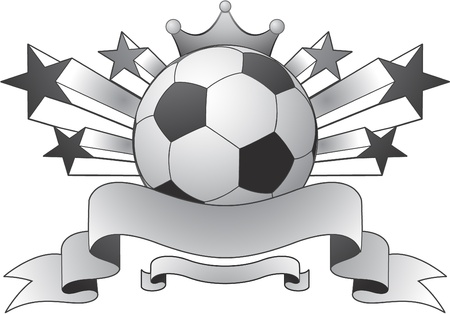 soccer ball: soccer emblem ribbon and stars Illustration