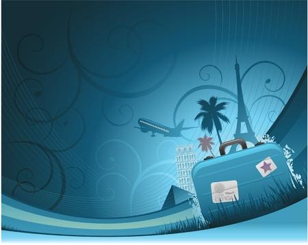 voyage: arrière-plan de voyage. Illustration