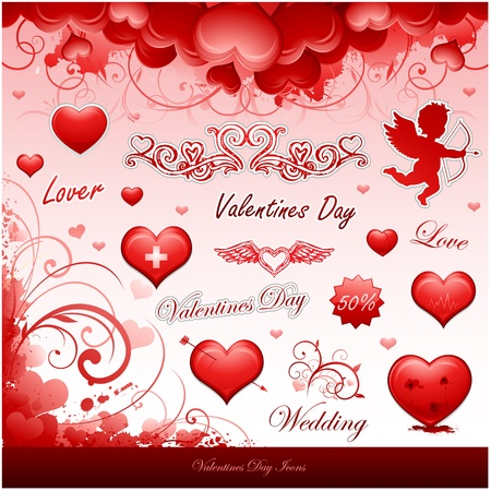 valentine's day design elements Stock Vector - 8683281
