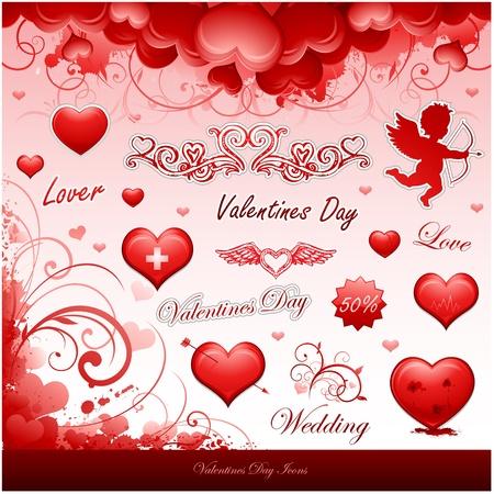 valentine's day design elements Stock Vector - 8683281