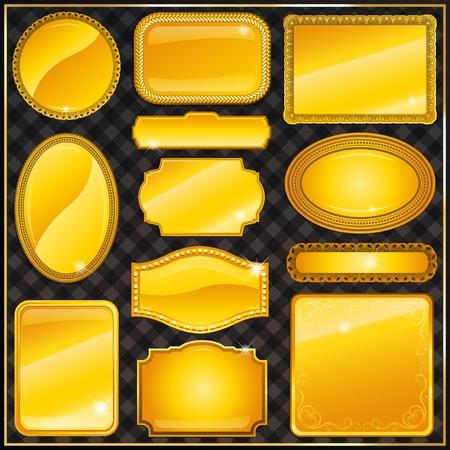 gold-framed labels and sticker