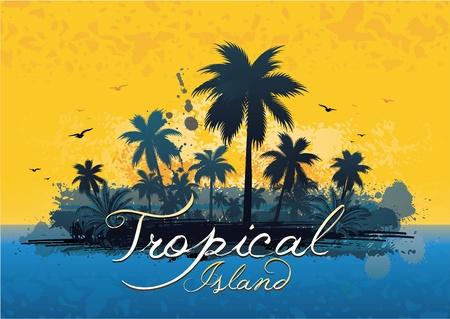 Grunge tropisch eiland Stock Illustratie