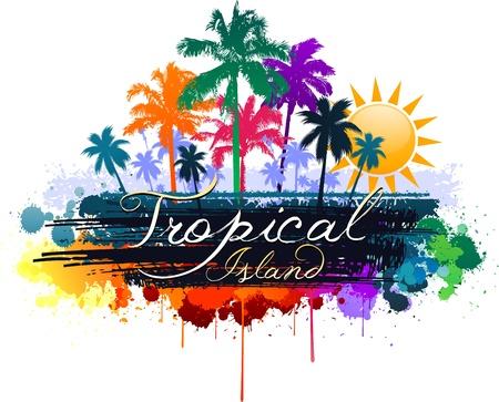 カラフルな熱帯の夏のデザイン  イラスト・ベクター素材