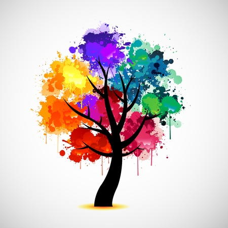 grunge: Colorful tree Illustration