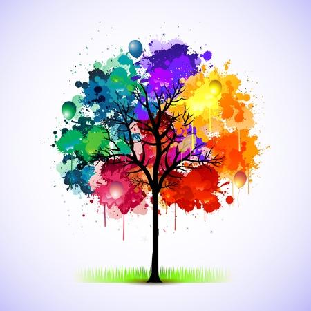 Paint Splat Baum Vektorgrafik